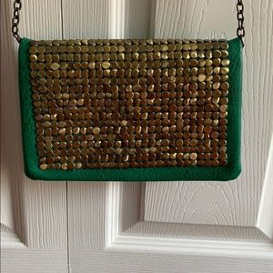 Beautiful gold beaded green purse